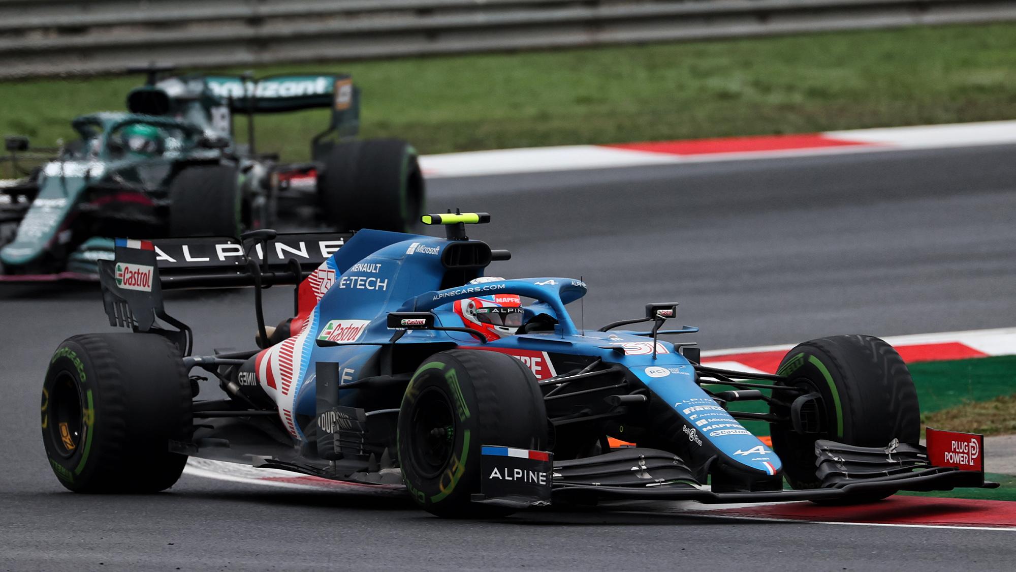 Esteban Ocon with bald tyres in the 2021 Turkish Grand Prix