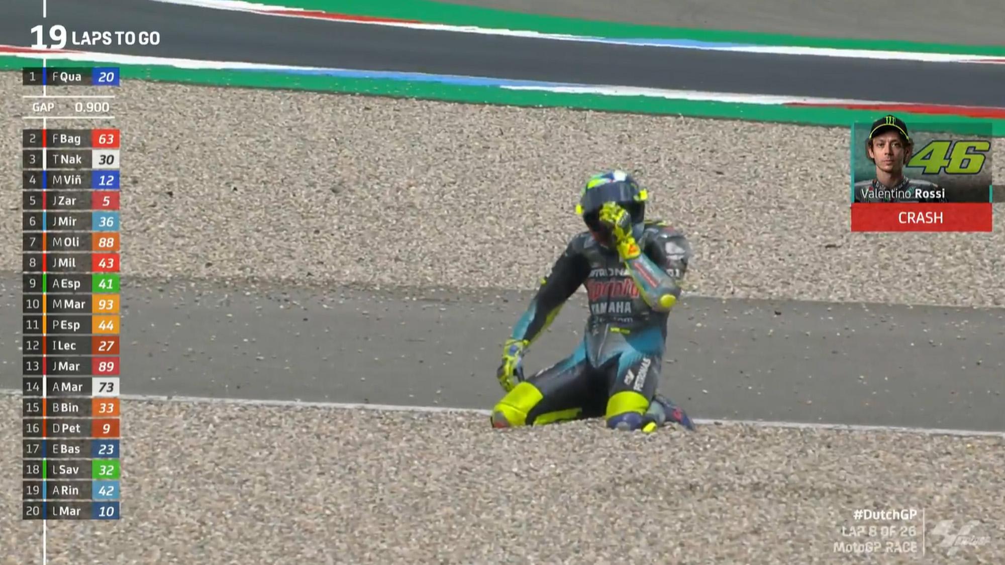 Valentino Rossi kneels after Assen 2021 crash