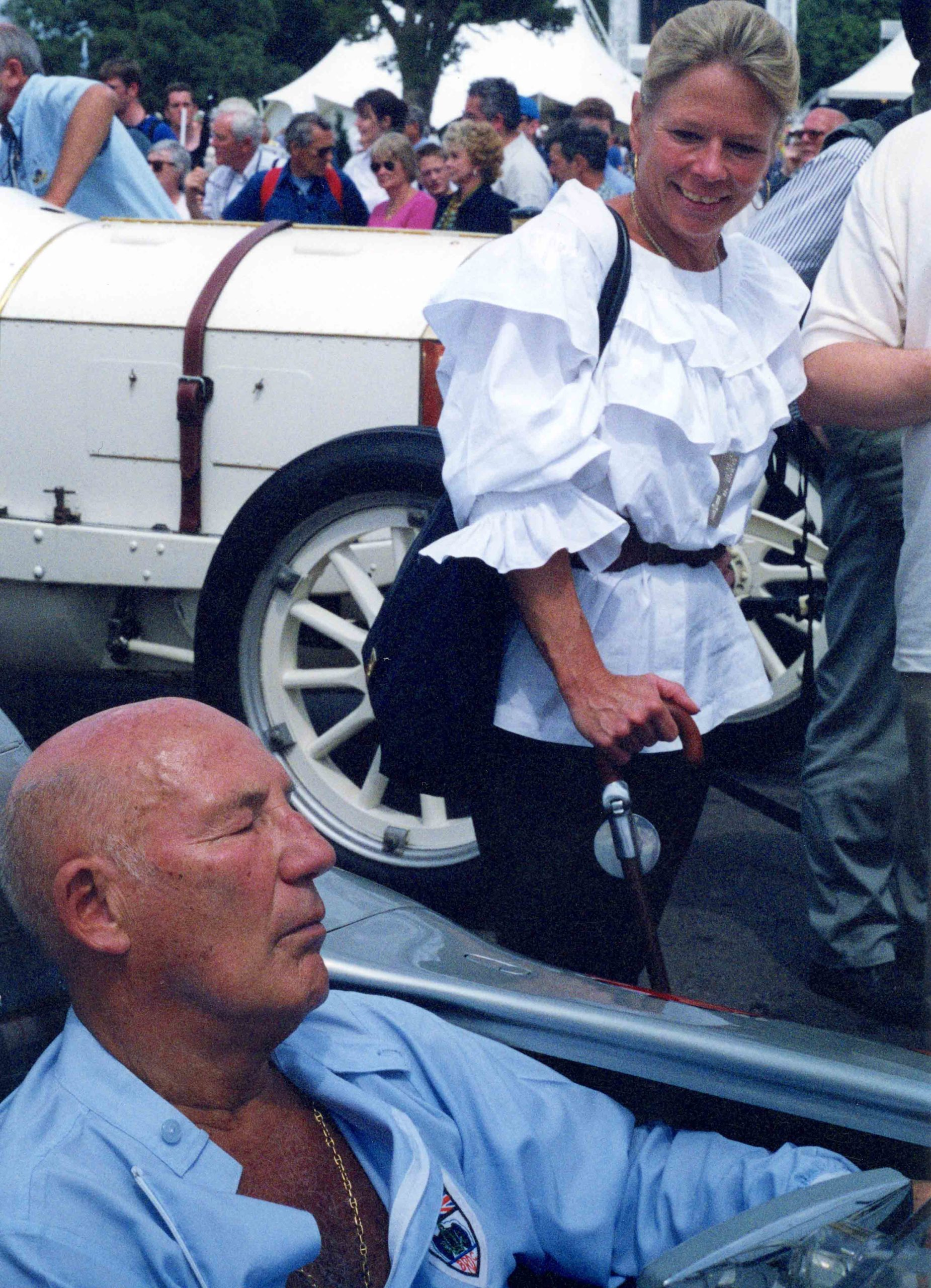 Stirling Moss napping in car at Goodwood Revival