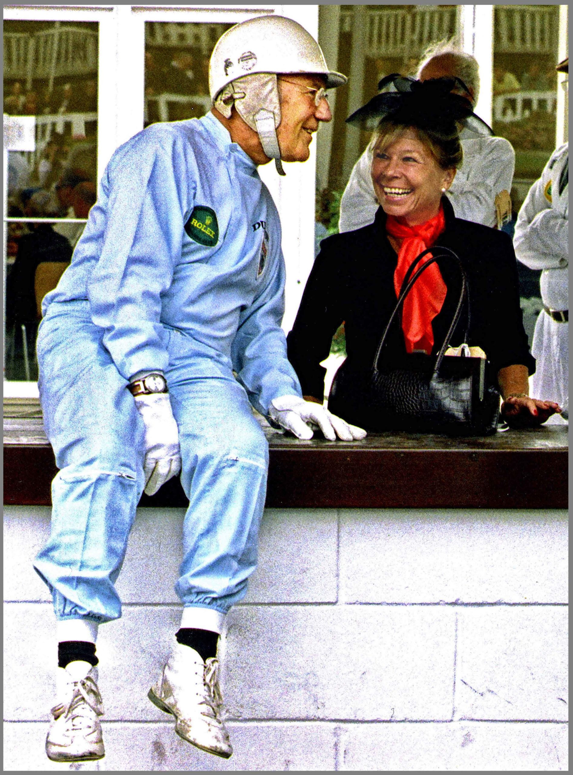 Stirling Moss on Goodwood pitwall with Susie Moss