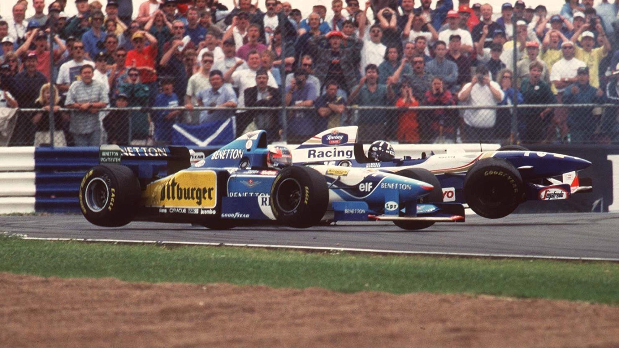 Damon Hill and Michael Schumacher crash at Silverstone in 1995