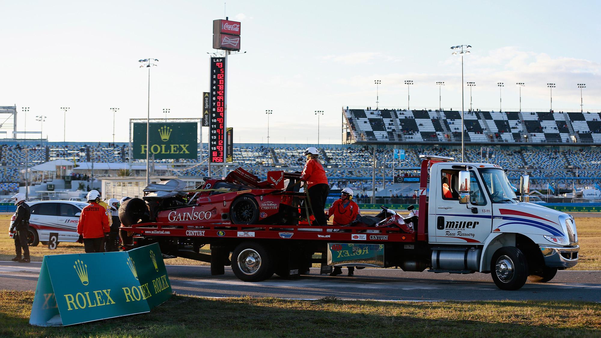 Wreckage after Memo Gidley crash at Daytona Rolex 24