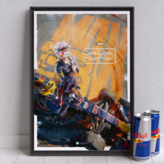 Product image for Max Verstappen F1 Poster, Red Bull Racing Formula 1 Wall Art – Limited edition of 250
