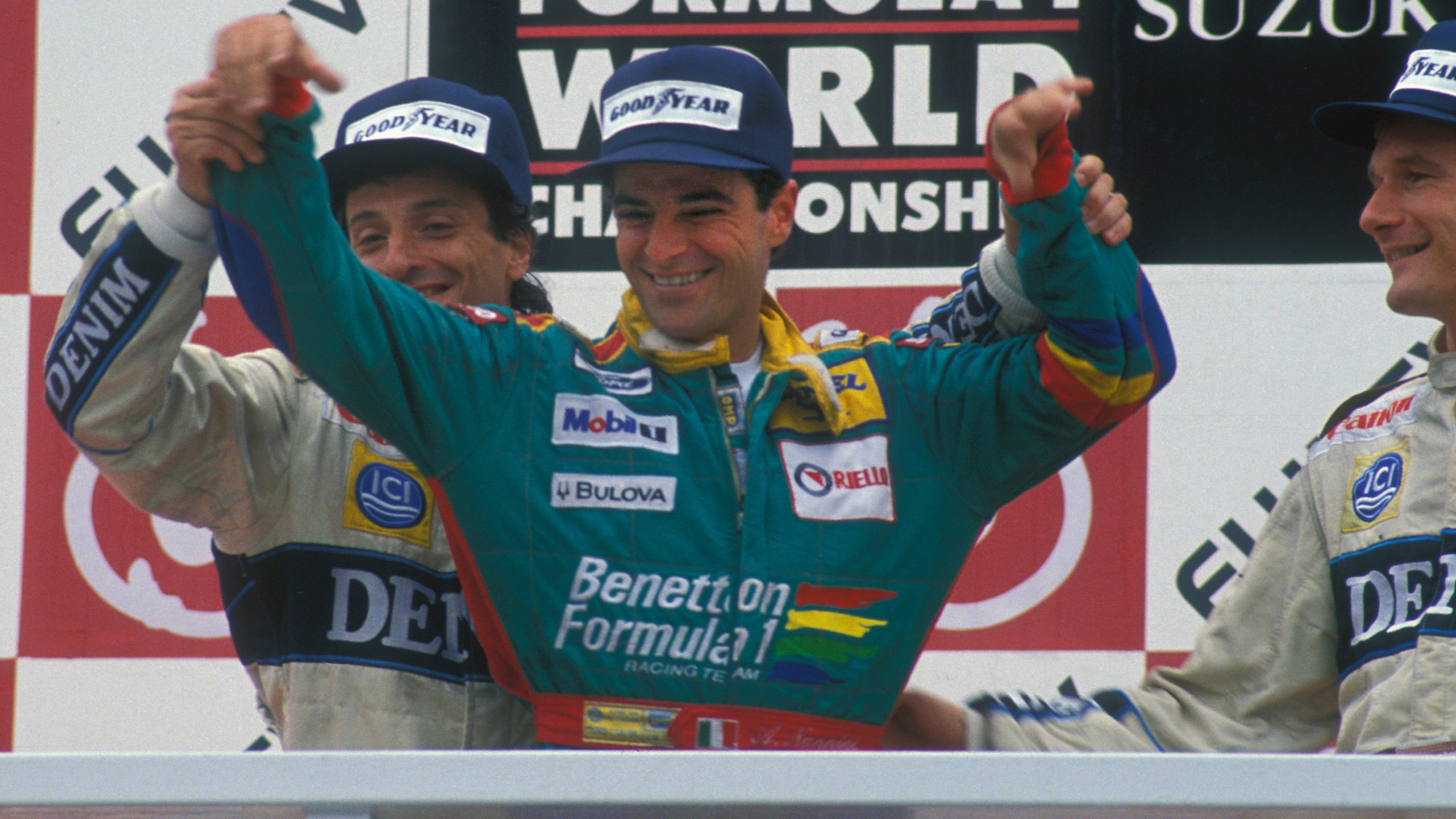 Alessandro Nannini on the podium after the 1989 Japanese Grand Prix