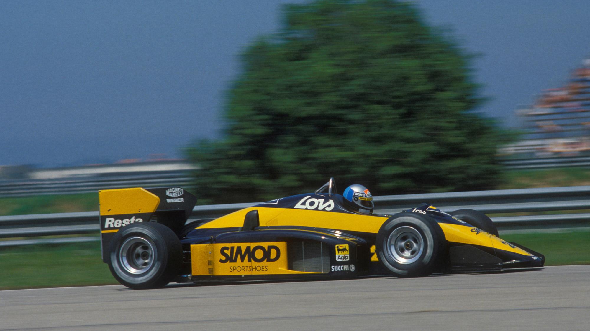Alessandro Nannini in mInardi Modena at the 1987 Brazilian Grand Prix