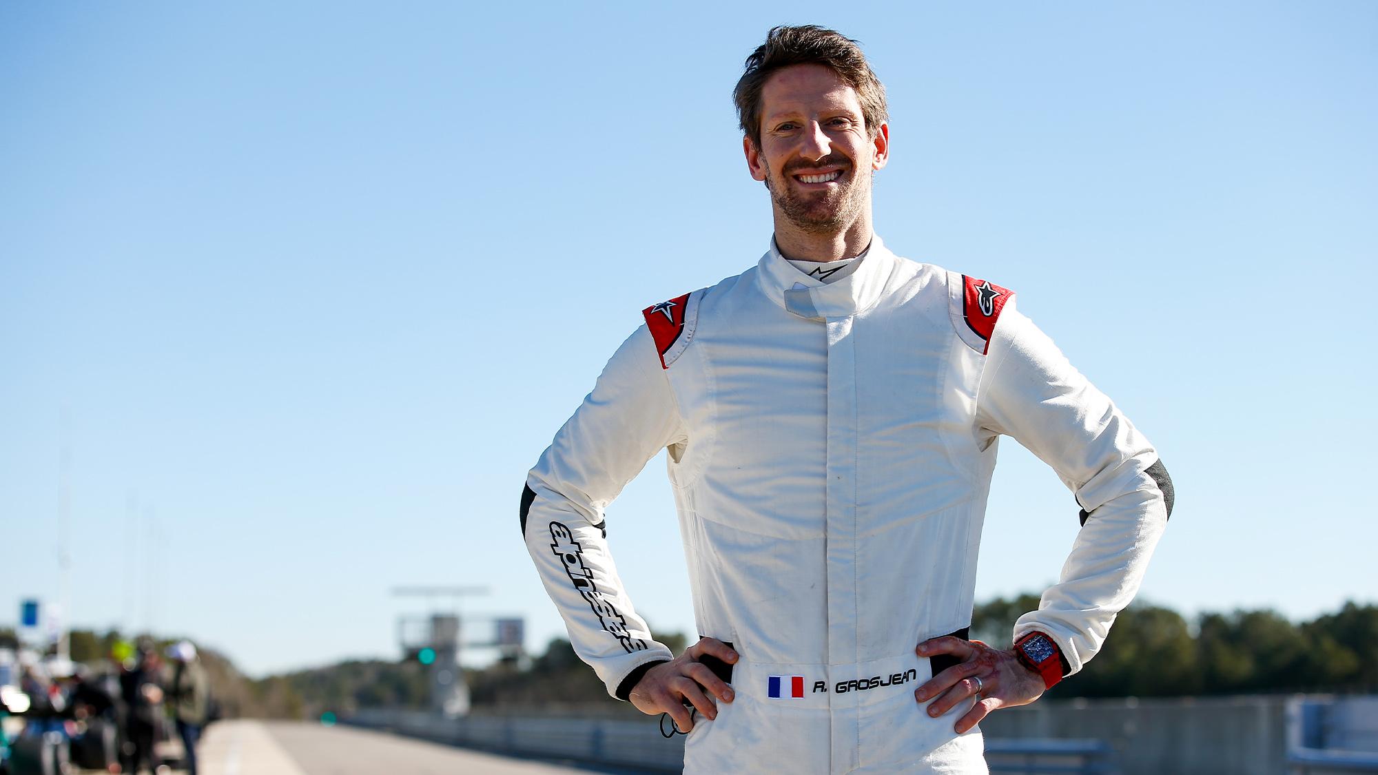 Romain Grosjean smiles during his 2021 Indycar test