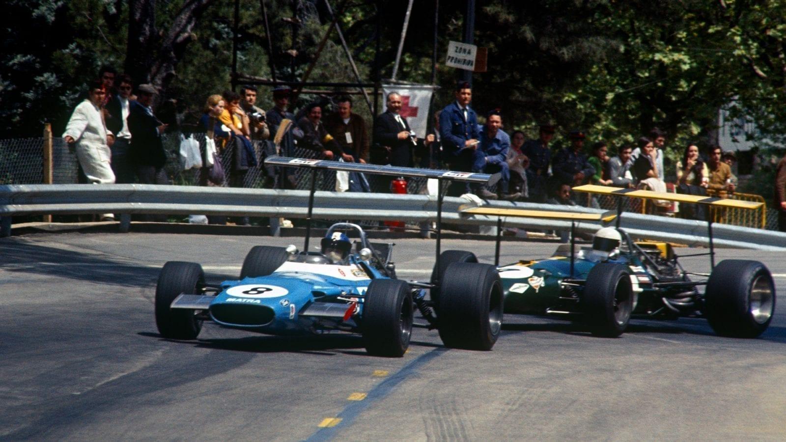 1969 Spanish Grand Prix Jean Pierre Beltoise and Jack Brabham